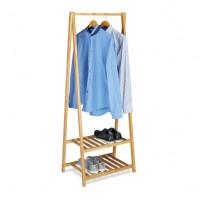 Bambusový stojan na oblečenie s 2 policami na topánky RD0270