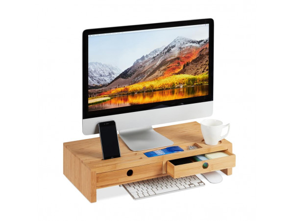 Bambusový podstavec pod monitor s 2 zásuvkami RD5701, 56 cm