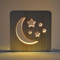 Drevená lampa AmbiWood 32656, mesiac a hviezdy