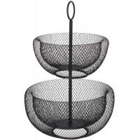 Dvojúrovňový kovový kôš na ovocie 5Five 0711, čierny