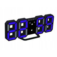 Modré LED hodiny s budíkom VG 458N, 23 cm
