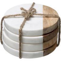 Mramorové podtácky pod poháre Secret de Gourmet 701A, biele