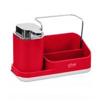 Dávkovač mydla s organizérom, červený 5five Simple Smart