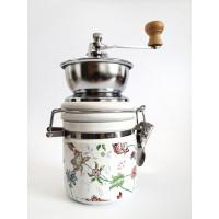 Ručný keramický mlynček na kávu EuB 2601, kvety