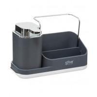 Dávkovač mydla s organizérom, šedý- 5five Simple Smart