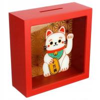 Pokladnička mačka šťastia Maneki Neko MB258, červená
